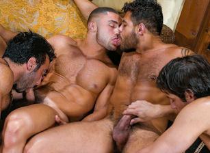 gay muscle porn clip: Arabesque - Francois Sagat & Huessein & Joey Milano & Manuel Torres, on hotmusclefucker.com
