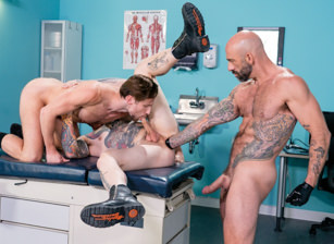 gay muscle porn clip: The Punchy Proctologist - Drew Dixon & Drew Sebastian & Teddy Bryce, on hotmusclefucker.com