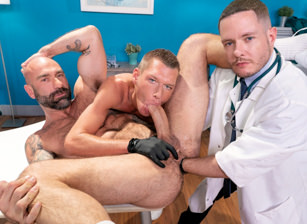 gay muscle porn clip: The Punchy Proctologist - Ashley Ryder & Drew Sebastian & Wrex Wylde, on hotmusclefucker.com