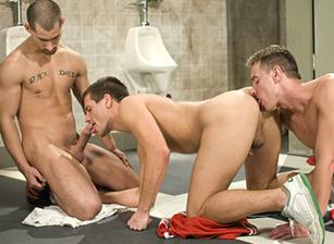 gay muscle porn clip: Locker Room - Derrek Diamond & Ethan Wolfe & Slade, on hotmusclefucker.com
